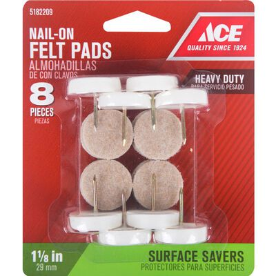 Ace 1 in. Dia. x 1 in. W Round Nail on Glide 8 Felt