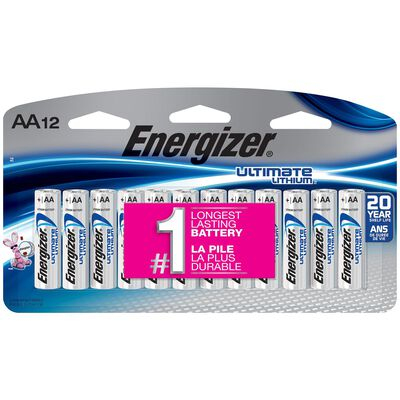Energizer Ultimate AA 1.5 volts Lithium Ion Batteries 12 pk