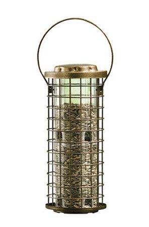 Perky-Pet Squirrel Stumper Wild Bird 3 lb. Metal Caged Tube Seed Feeder 8