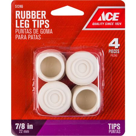 Ace Rubber Round Leg Tip Off-White 7/8 in. W 4 pk