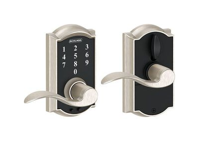 Schlage Satin Nickel Electric Touch Screen Entry Lock 1-3/4 in. Camelot 2 Grade