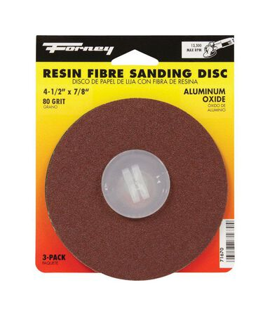 Forney 4-1/2 in. Dia. Sanding Disc 80 Grit Adhesive 3 pk