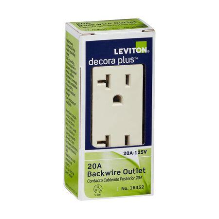 Leviton Decora 20 amps 125 volt Light Almond Outlet 5-20R 1 pk