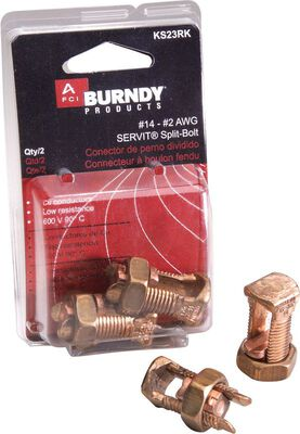 Burndy Servit Split Bolt Connector Silver 2 pk