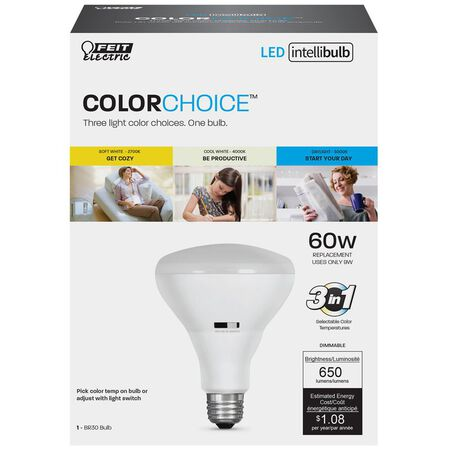 FEIT Electric Intellibulb COLORCHOICE 9 watts 650 lumens 2700/4000/5000 K BR30 60 watts equivalen