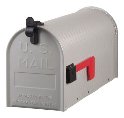 Solar Group Gibraltar Standard Ribbed Galvanized Steel Post Mounted Mailbox Gray 9-1/2 in. H x