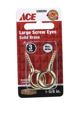 Ace 3/16 1-5/8 in. L Polished Brass Screw Eye 3 pk