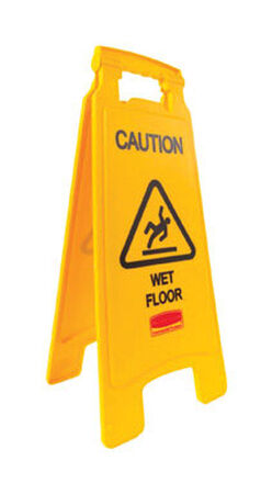 Rubbermaid English 22-3/4 in. H x 10-7/8 in. W Plastic Sign Caution Wet Floor