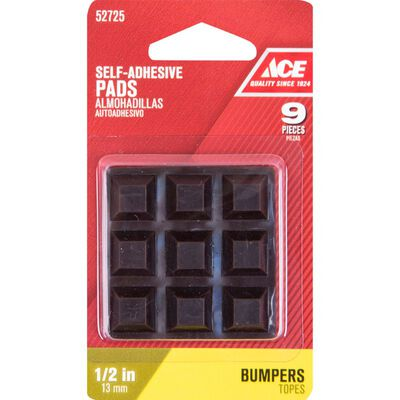 Ace Vinyl Square Bumper Pads Brown 1/2 in. W x 1/2 in. L 9 pk