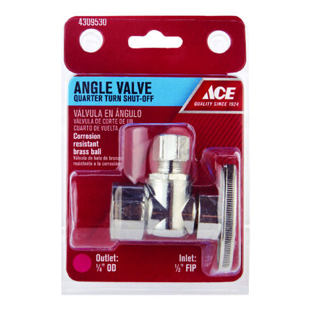 Ace 1/2 in. Dia. x 1/4 in. Dia. Ball Shut-Off Valve Brass