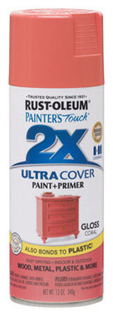 Rust-Oleum Painter's Touch Ultra Cover Coral Gloss 2x Paint+Primer Enamel Spray 12 oz.
