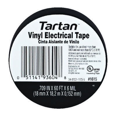 Tartan 11/16 in. W x 60 ft. L Vinyl Electrical Tape Black