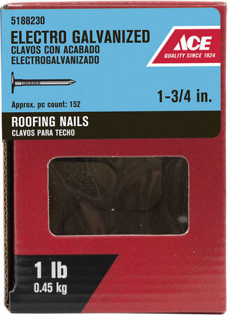 Ace Large 1-3/4 in. L Roofing Nail Smooth Electro Galvanized Steel 1 lb.