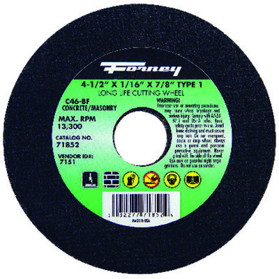 Forney 4-1/2 in. Dia. x 1/16 in. thick x 7/8 in. Masonry Cutting Wheel