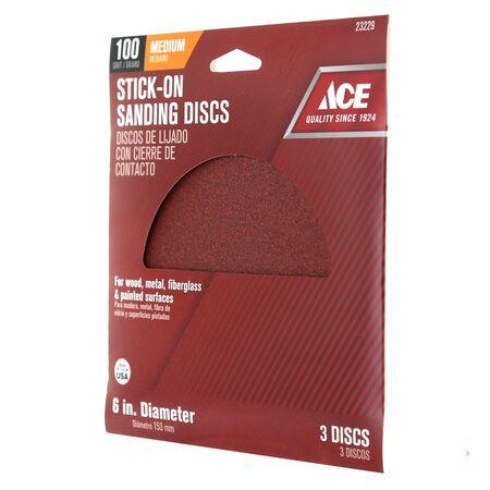 Ace 6 in. Dia. Sanding Disc 100 Grit Medium Adhesive 3 pk