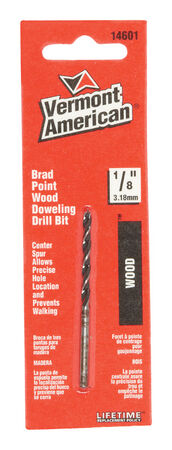 Vermont American Steel Reduced Shank 1/8 in. Dia. x 2-3/4 in. L Brad Point Drill Bit 1 pc.