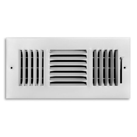 Tru Aire 12 in. W x 6 in. H White Steel 3-Way Supply Wall/Ceiling Register