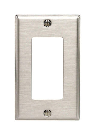 Leviton 1 gang Silver Stainless Steel Rocker/GFCI Wall Plate 1 pk