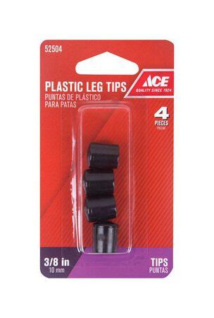 Ace Plastic Round Leg Tip Black 3/8 in. W 4 pk