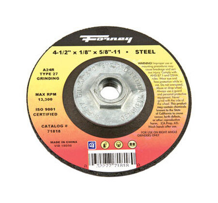 Forney 4-1/2 in. Dia. x 1/8 in. thick x 5/8 in.-11 in. Metal Grinding Wheel