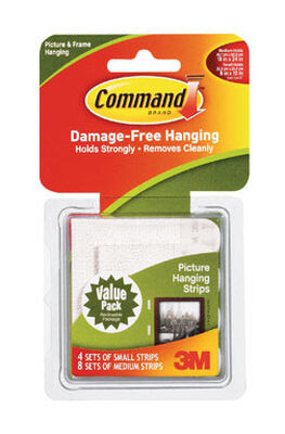 3M Command 3 lb. Large Picture Hanging Strips Foam 12 pk