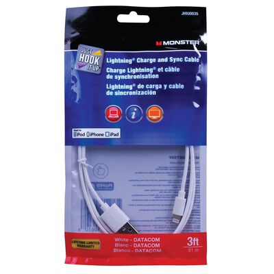 Monster 3 ft. L White USB Cable