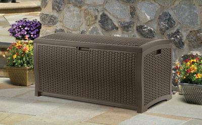Suncast Resin Wicker Deck Box 25-1/2 in. H x 50 in. W x 25-1/2 in. D Brown