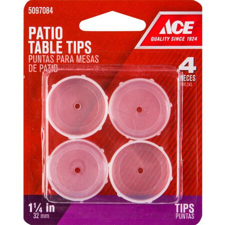Ace Plastic Round Patio Furniture Tip Round Insert Cup Clear 1-1/4 in. W 4 pk