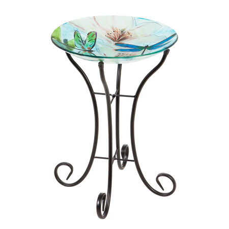 "16"" glass birdbath w/stand dragonfly"