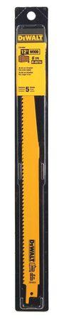 "12"" 6 TPI Taper Back Bi-Metal Reciprocating Blade for General Purpose Wood Cutting (5 pack)"