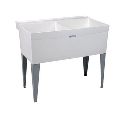 Mustee Laundry Tub Double Bowl 34 in. x 40 in. x 24 in. 19 gal.