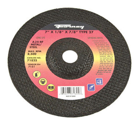 Forney 7 in. Dia. x 7/8 in. x 1/8 in. thick Metal Grinding Wheel