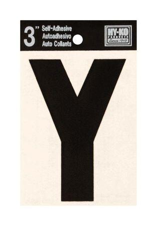 Hy-Ko Self-Adhesive Black 3 in. Vinyl Letter Y