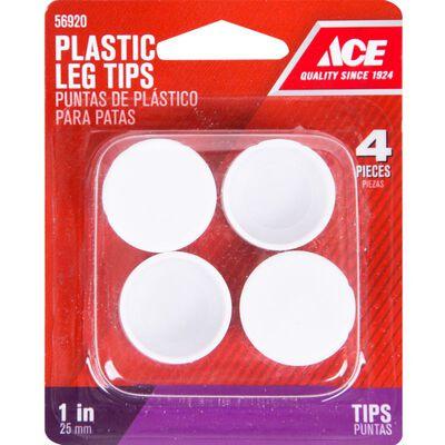 Ace Plastic Round Leg Tip White 1 in. W 4 pk