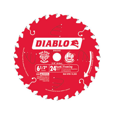 Freud Diablo 6 1/2 in. Dia. 24 teeth Carbide Tip Titanium Framing Blade For Cutting Wood