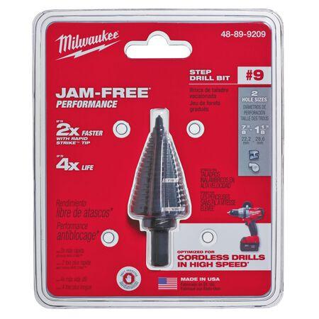 Milwaukee JAM-FREE 7/8 - 1-1/8 in. Dia. x 6 in. L Black Oxide Step Drill Bit 1 pc.