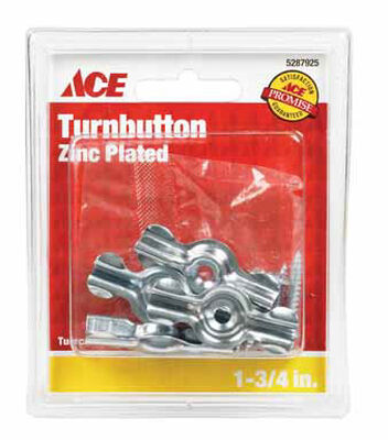 Ace Zinc Screen/Storm Turn Button Silver 4 pk