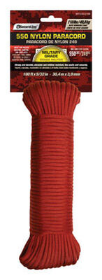 SecureLine 5/32 in. Dia. x 100 ft. L Braided Nylon Paracord Red