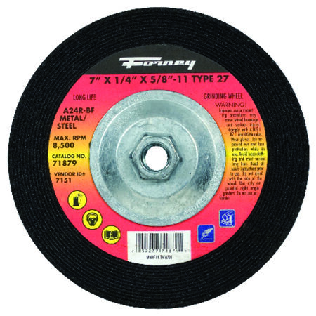 Forney 7 in. Dia. x 1/4 in. thick x 5/8 in.-11 in. Metal Grinding Wheel
