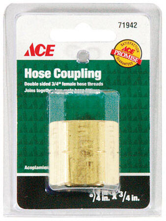 Ace 3/4 in. FHT x 3/4 in. FHT Brass Hose Adapter Female Threaded