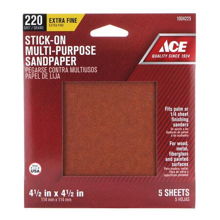 Ace 4.5 in. L x 4.5 in. W 220 Grit Aluminum Oxide Sandpaper 5 pk