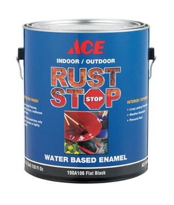 Ace Interior/Exterior Rust Stop Water-based Enamel Paint Flat Black Flat 1 gal.