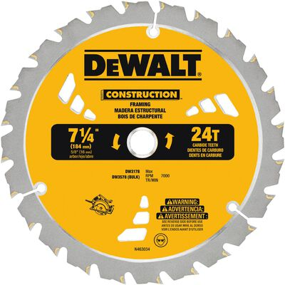 DeWalt 7-1/4 in. Dia. 24 teeth Carbide Tip Circular Saw Blade For Framing/Ripping