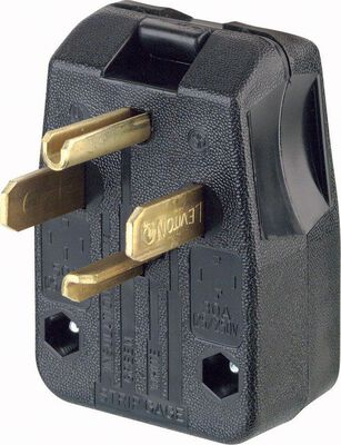 Leviton Commercial Thermoplastic Angle Blade Plug 14-30P/14-50P 14-6 AWG 3 Pole 4 Wire Black