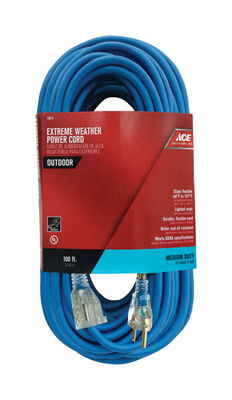 Ace Indoor and Outdoor Extension Cord 14/3 SJOW 100 ft. L Blue