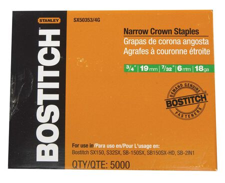 "5,000-Qty. 3/4"" Leg 18-Gauge 7/32"" Narrow Crown Finish Staples"