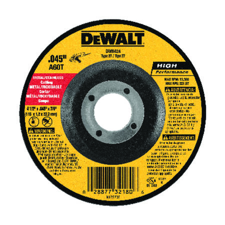 "4-1/2"" x .045"" x 7/8"" Metal Cutting Wheel"