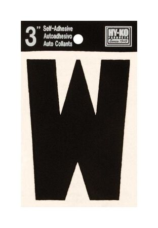 Hy-Ko Self-Adhesive Black 3 in. Vinyl Letter W
