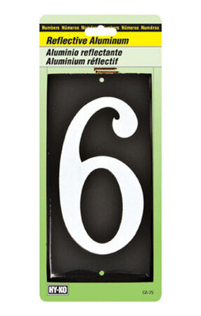 Hy-Ko Nail On White Reflective Aluminum Number 6 3-1/2 in.
