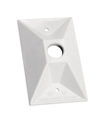 Sigma Rectangle Aluminum 1 gang Electrical Cover For Light Fixtures White